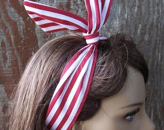 Red and White Stripe DOLLY BOW Wire Headband Hair Tie Rockabilly Hair Wrap Rosie the Riveter Pin Up one size fits all adjustable
