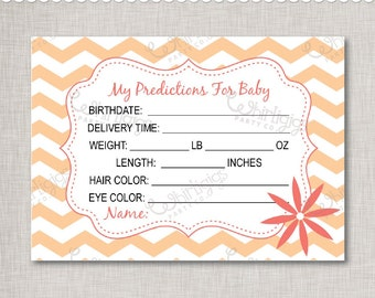 Predictions For Baby - Printable Baby Shower Cards in Peach & Coral -  INSTANT DOWNLOAD