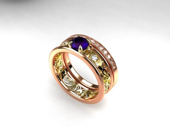 Tanzanite engagement ring set filigree ring two tone ring