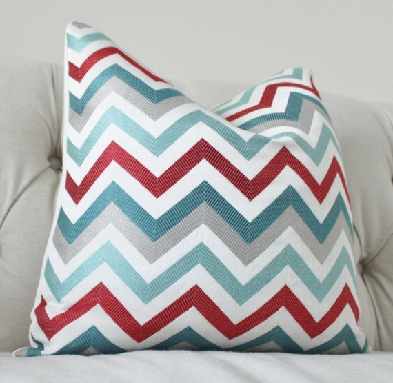 Designer Pillow Cover Modern Turquoise Aqua Teal Red Grey