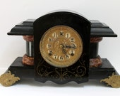 Working Antique Gilbert Mantle Clock, 8-Day Time and Strike, Key Included