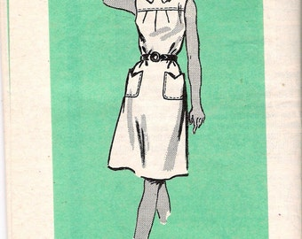 """Vintage 1973 Anne Adams 4594 Yoked Dress with  Collar Sewing Pattern Size 16 Bust 38"""" UNCUT"""