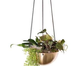 Summer Sale! Large Hanging Planter/Basket with hand spun Brass bowl / Modern Planter / Plant Hanger / Minimalist Home Decor
