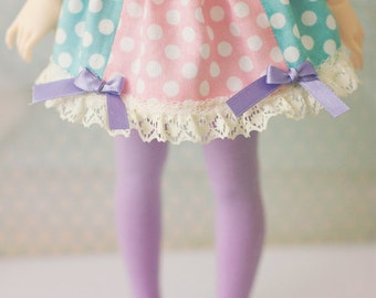 BJD Skirt for Slim MSD Minifee or SD - Dots Blue with Pink center