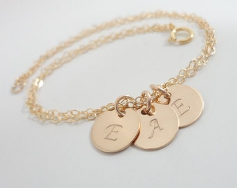 Tiny Gold Filled Initial Bracelet - Three Initials - Delicate Monogram Bracelet - Hand Stamped Mommy Jewelry