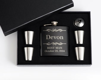 7, Personalized Mens Gift, Engraved Flask Set, Stainless Steel Flask, Personalized Best Man Gift, 7 Flask Sets