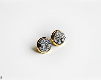 Faux pyrite studs - Gold