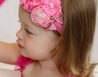 Pink Baby Headband, Infant Headband, Newborn Headband, Baby Headband, Toddler Headband, Girls Headband, Pink Headband, Easter Headband