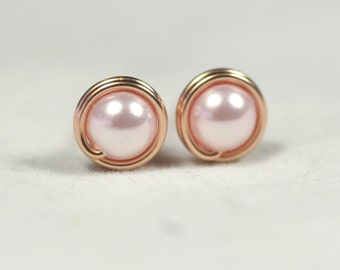 Rose Gold Light Pink Pearl Stud Earrings Pink Pearl Earrings Rose Gold Earrings Rose Gold Studs Rose Gold Jewelry Pink Gold Earrings