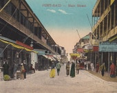 PORT SAID, EGYPT, Vintage Postcard, Main Street, Shops, Women, Men, Children, Trolley, Unused, 1910s, Cairo Post Card Trust