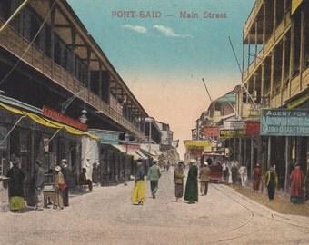 PORT SAID, EGYPT, Vintage Postcard, Main Street, Shops, Women, Men, Children, Trolley, Unused, 1910s, Cairo Post Card Trust