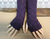 Fingerless Gloves, Purple Wrist Warmers, Cabled Arm Warmers, Womens Chunky Knitted Gloves, Australia, Nchanted Gifts