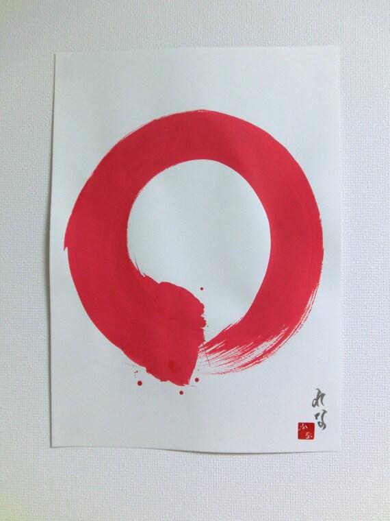 Original Enso Zen Painting Throw Pillows: Enso Red Original Japanese Calligraphy Zen Circle Wall Art