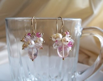 Rose quartz earrings pink tourmaline pearl cluster 14k gold filled gemstone handmade MLMR item 614