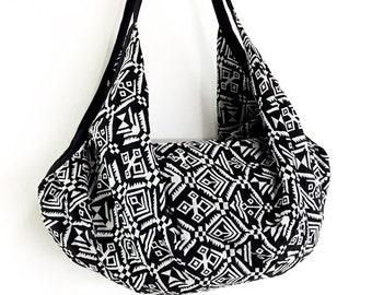 Woven Bag Backpack Hippie bag Hobo bag Boho bag Shoulder bag Tote Purse Handbags Travel Bag Crossbody Bag Purse Gypsy Bag Black&White(BWF77)