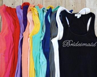 8 Bridesmaid Tank Top Shirts. Bride, Maid of Honor, Matron of Honor. Bridesmaid Shirts, Bridesmaid Gift, Bachelorette Party Shirts