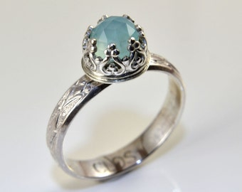 Blue Aqua Ring in Sterling Silver, Faceted Rose Cut Blue Aqua Chalcedony Stone and Fleur De Lis band