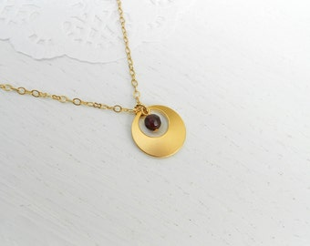 Summer SALE - Red garnet necklace, Gold circle pendant necklace, January birthstone