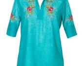Cotton Blouse, Ethnic Short Sleeves Shirt -SALE 20% Off New Collection, Women Top,