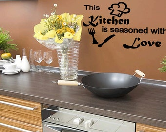Wall Quotes This Kitchen is Seasoned With Love Vinyl Wall Decal Quote Removable Kitchen Wall Sticker Home Decor (M25)