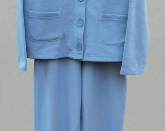 Vintage Two Piece Wedgewood Blue  Knit Top & Pants Size Medium