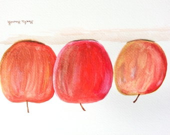 50%off sale Red apples, original watercolour painting, 12 x 9 inch still life, apples watercolour painting, fruits