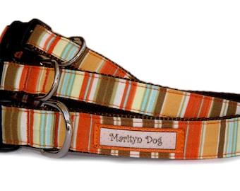 Fall Halloween dog collar dog leash Pumpkin orange pet collar Small dog collar Large dog collar Designer stripe fabric boy girl pet collar