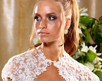 Embroidered lace flowers bridal cape. Floral beaded lace cover up. Lace Shoulder Wrap.