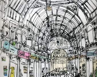 BOUTIQUE SHOPPING ARCADE, Leeds Yorkshire England, Signed Limited Edition Giclee Print Shops, Drypoint, Clare Caulfield, Victorian Art Print