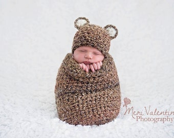 Natural Teddy Bear Beanie, Photography Prop, Made to Order