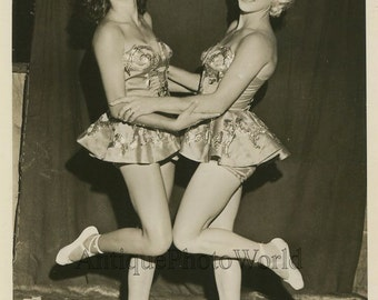 Hugging women circus acrobats performers vintage Ringling Bros. photo