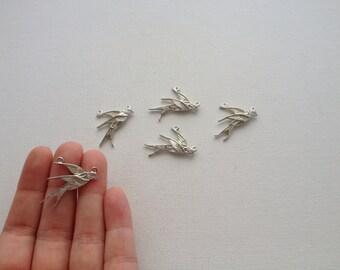 5 - Silver Swallow Bird Connector Charms Pendants