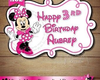 Minnie Mouse Sign, Minnie Mouse Happy Birthday Personalized Door Sign, Pink Polka Dot Minnie Mouse Party Printable, DIY, You Print