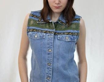 Vintage 90s Denim Vest w/ Floral Southwestern Trim by Bill Blass / Size Medium