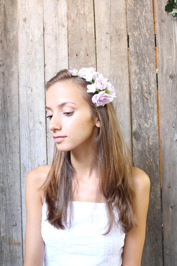 Hair alice band polymer clay flower. Philadelphus. Pale lilac roses. Headband. wedding hair flower