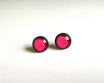 12mm Pink Stud Earrings, Mini Pink Post Earrings, Mini Pink Earrings, Mini Pink Studs, Pink Jewelry, Pink Round Studs, Pink Cabochon Jewelry