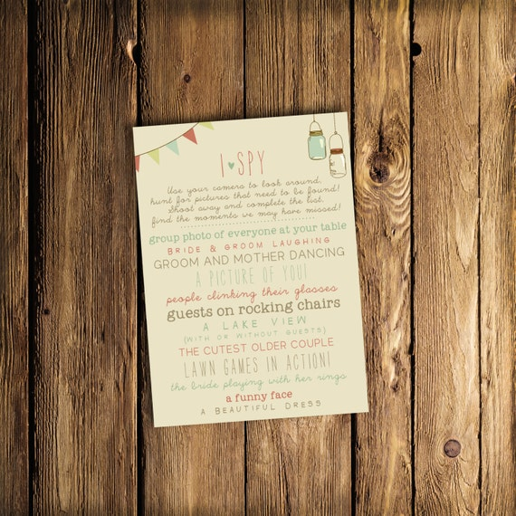 I Spy Wedding Game DEPOSIT - Printable, Custom - DIY Wedding - Vintage, Photo Challenge, Game, Bridal Shower, Barn (Wedding Design #16)