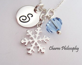Snowflake Charm Necklace - Personalized 925 Sterling Silver - Custom Initial and Swarovski Birthstone Bead - Winter Wedding Jewelry