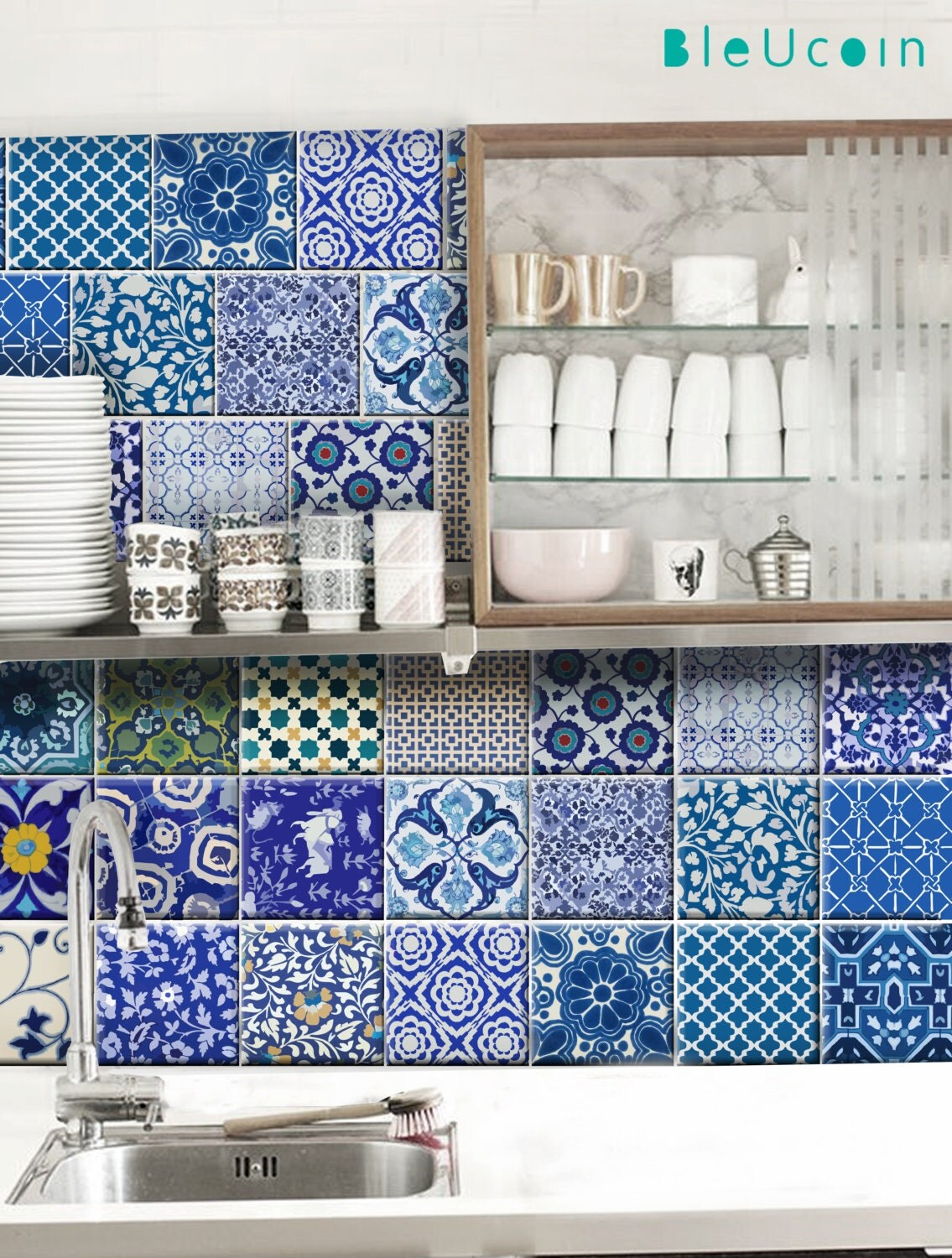 Kitchen/Bathroom Indian Jaipur Blue pottery tile/wall decals
