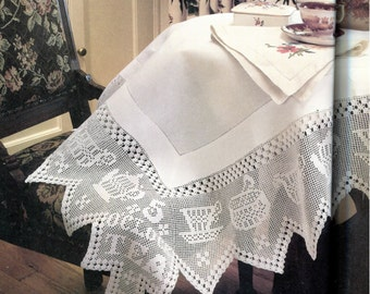 Tea Time Filet Crochet Tablecloth