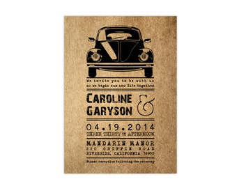 Volkswagen wedding invitation - Kraft paper wedding invitation - Vintage Wedding - Rustic wedding invitation - Volkswagen - Sample set