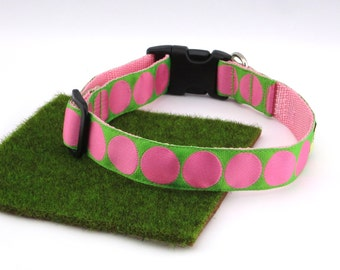 """Pink Polka Dots With Lime Green Spring Summer Dog Collar, 1"""" Wide"""