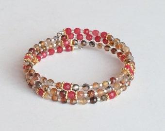 Multi Color Agate Bracelet, 3 Strands Memory Wire Bracelet B27