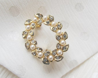 Clearance - Vintage Tiny Golden, Rhinestone & Faux Pearl Costume Brooch