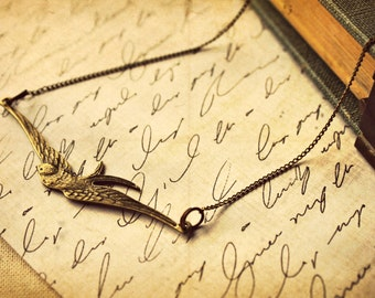 The Barn Swallow ~ a whimsical woodland brass bird in flight necklace
