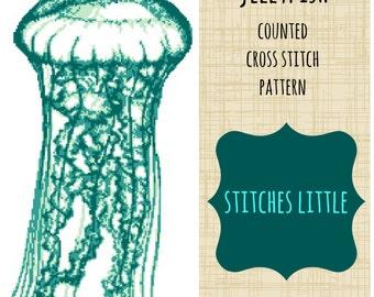 Jellyfish Cross Stitch Pattern - Teal Jellyfish - Nautical Cross Stitch - Ocean Cross Stitch - PDF Pattern - Instant Download