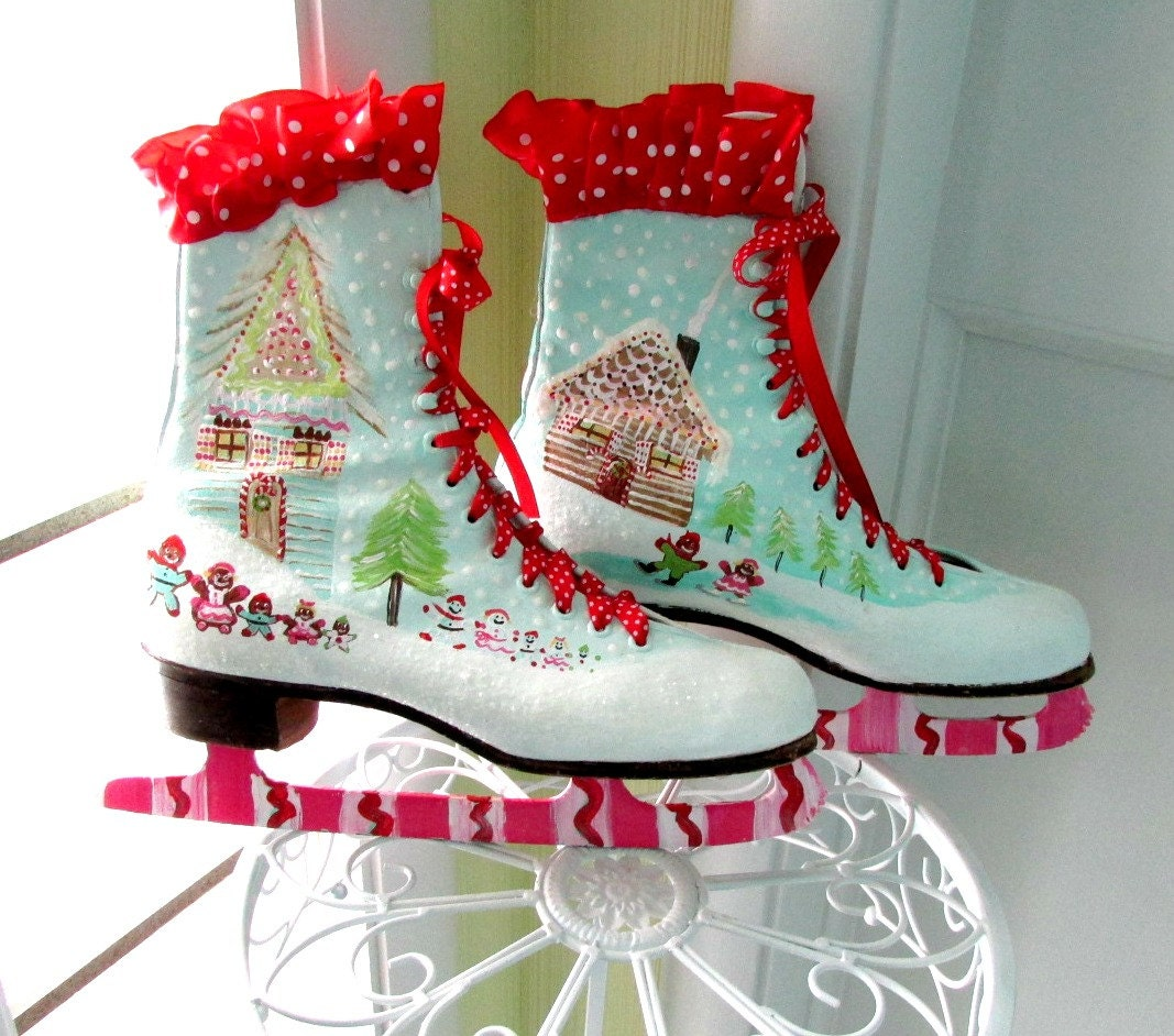 Christmas Ice Skating Rink Decoration: Painted Ice Skates Gingerbread Houses Christmas Ice Skates