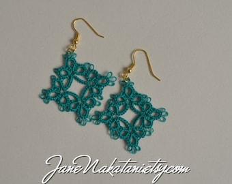 tatting lace earrings -Sea Green-