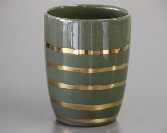 Gold Ceramic Mug Unique Coffee Mug Emerald Green And