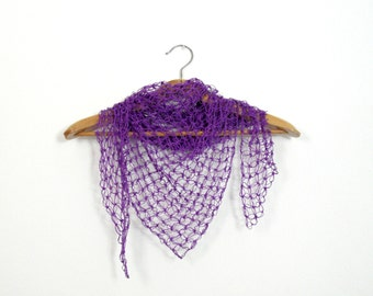 purple crochet stole - summer shawl for woman - lightweight lace scarf - triangle shaped - beachwear scarf